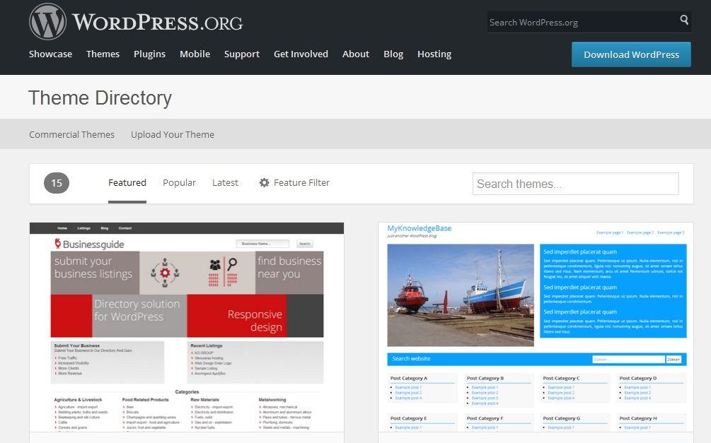 temas WordPress.org