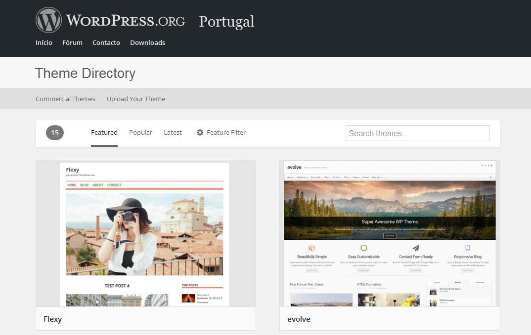 repositório de temas wordpress.org em português