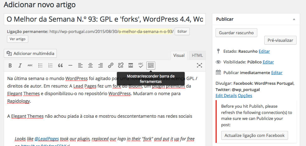 barra de ferramentas do WordPress