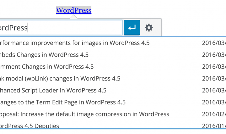 WordPress inline link toolbar
