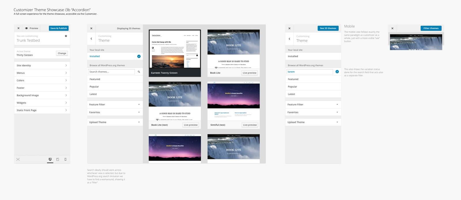 Interface de utilizador na personalização de temas do WordPress 4.7