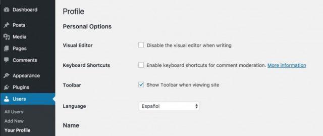 Editar perfil na língua desejada no WordPress 4.7