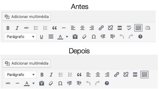 Alterações no editor do WordPress
