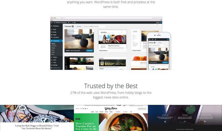 Página de início do wordpress.org em mudanças