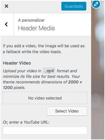 Podes colocar vídeo no cabeçalho