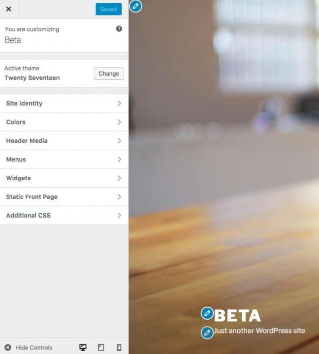 Barra lateral do personalizador ajusta ao ecrã