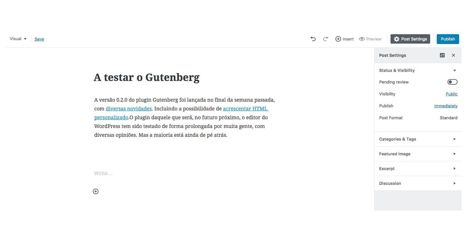 Testar Gutenberg no WordPress