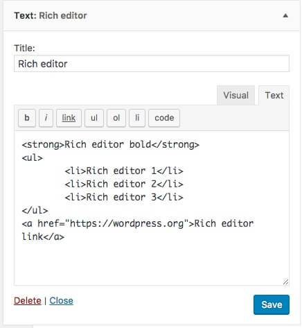 text editor tags