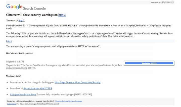 Aviso da Google sobre HTTPS