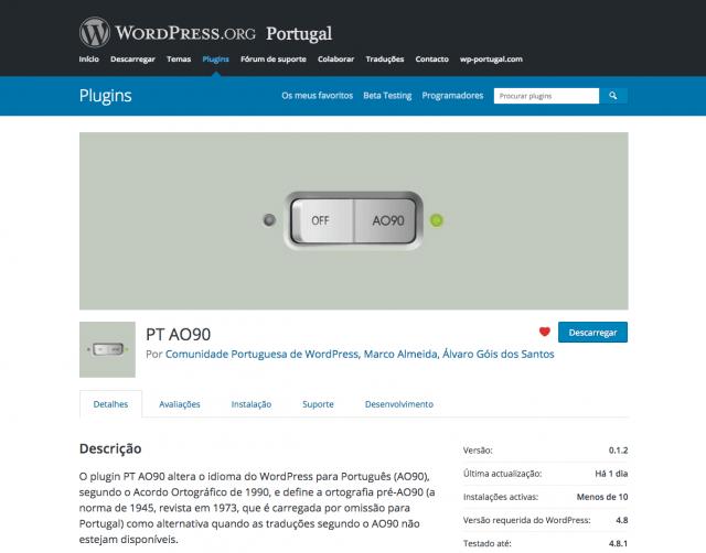 Plugin PT AO90 no directório do WordPress