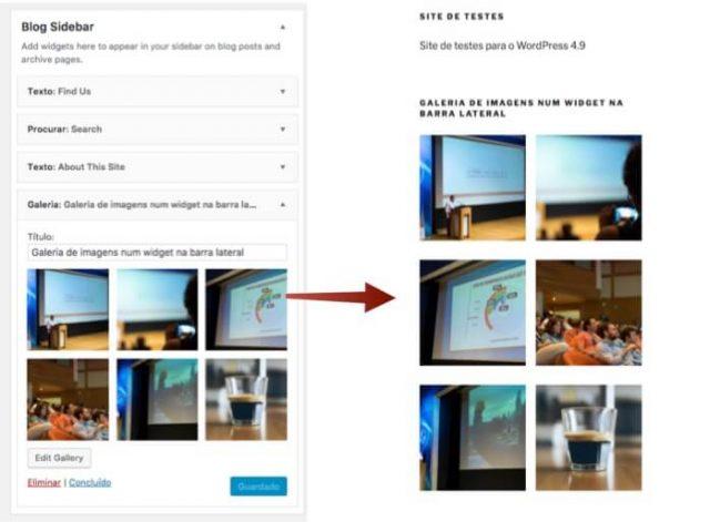 Galeria de fotos no widget