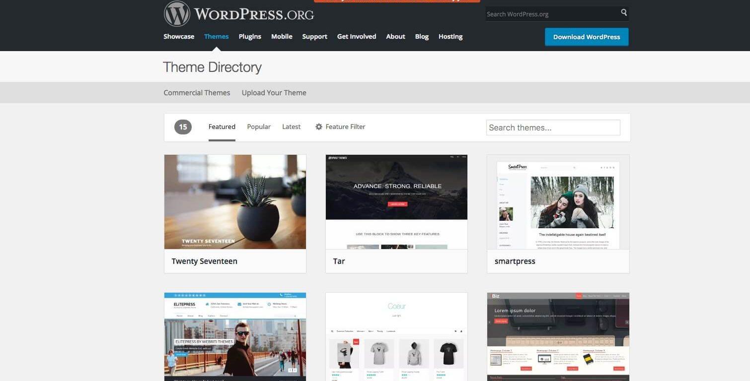 Directório de temas do WordPress.org