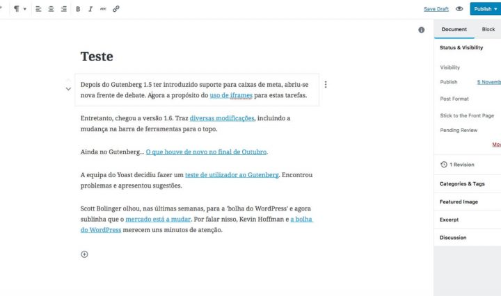 Gutenberg com a mudança na barra de ferramentas para o topo.