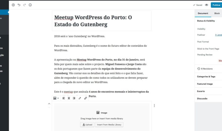 Gutenberg no Meetup WordPress do Porto
