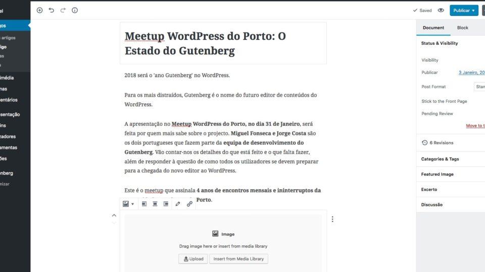 Gutenberg no Meetup WordPress do Porto