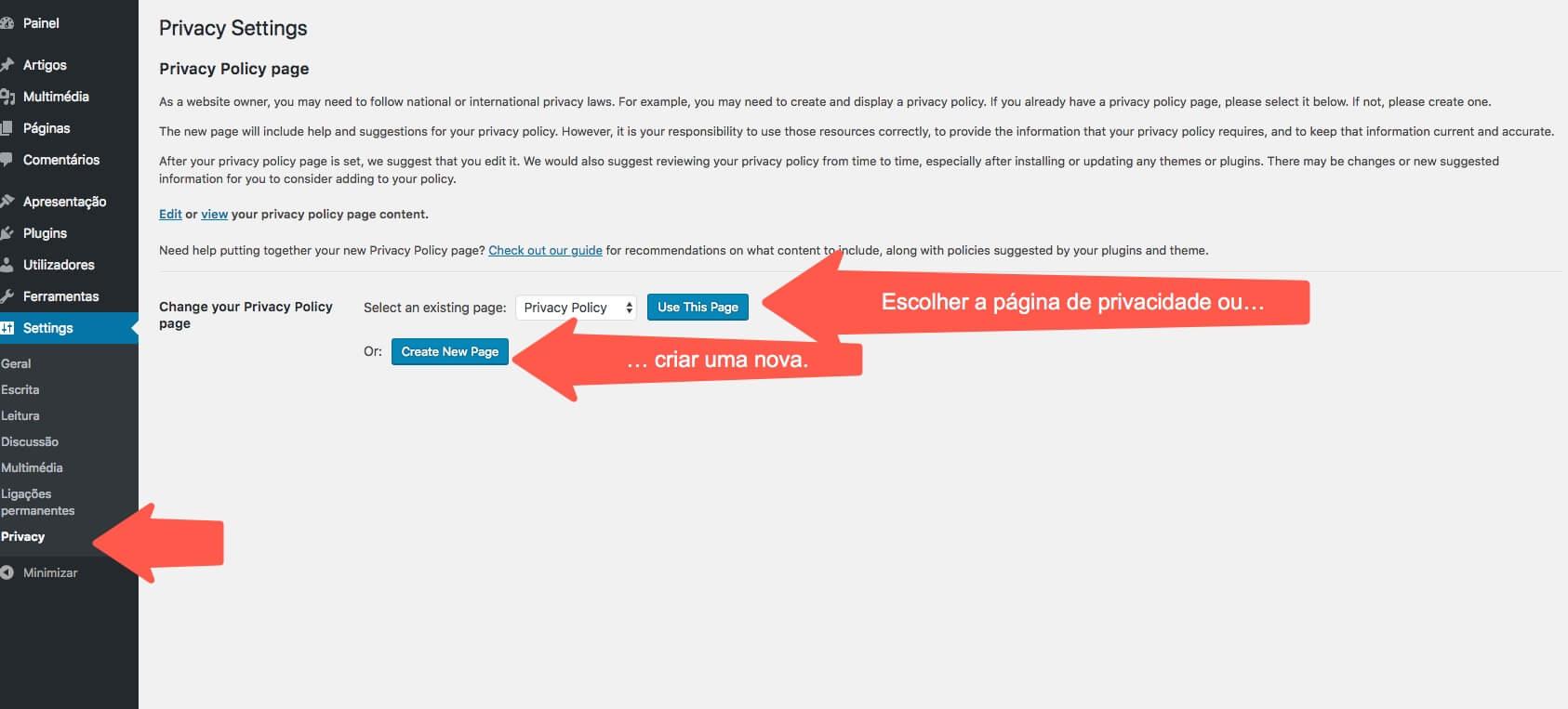 Seleccionar a página de privacidade ou criar uma nova