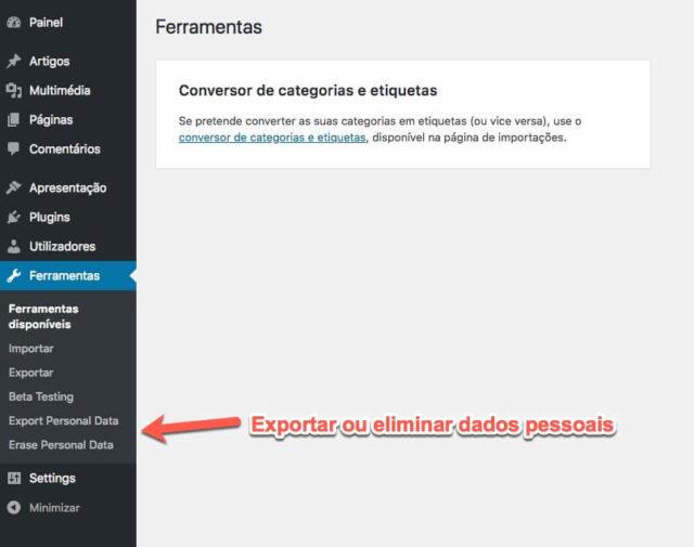 A nova ferramenta para exportar ou eliminar dados