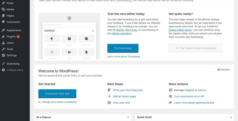 WordPress 4.9.8 convite para os utilizadores testarem o Gutenberg