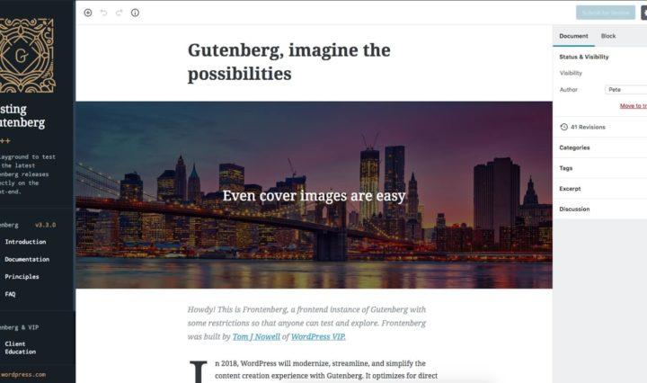 Um site que permite testar o Gutenberg