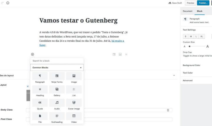 Vamos testar o Gutenberg na versão WordPress 4.9.8