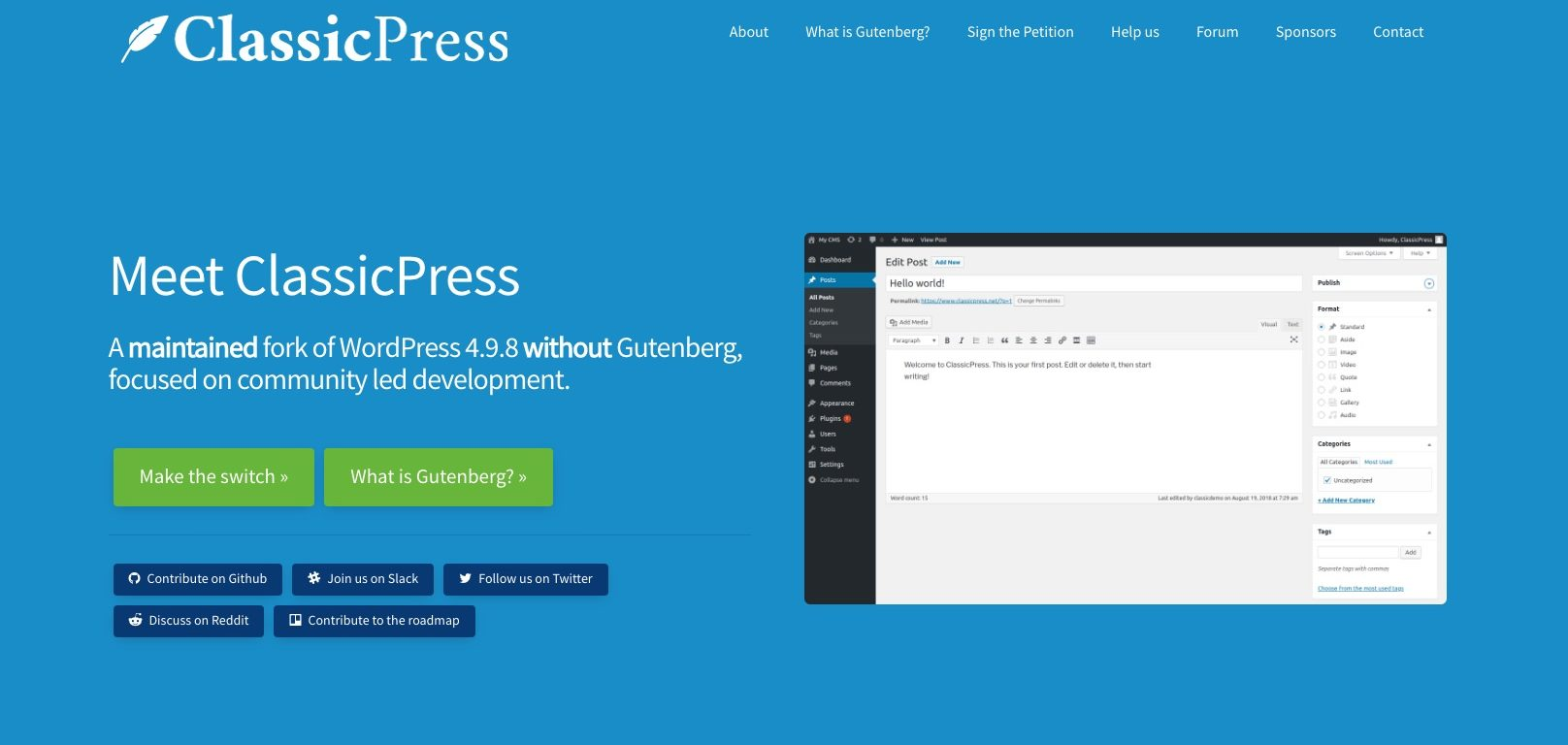 ClassicPress, um fork do WordPress
