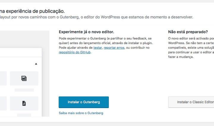 Convite para testar o Gutenberg em português