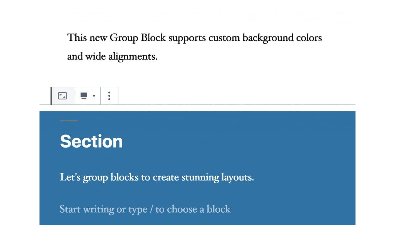 No Gutenberg: O início de um bloco de grupo (secções)